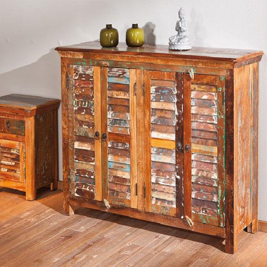 Digam Multicoloured Wooden Sideboard With 4 Door Cupboard