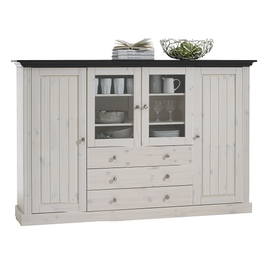 Monika Display Sideboard In Solid Pine White Wash With 4 Doors