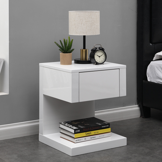 Dixon Bedside Table In White High Gloss With 1 Drawer_1