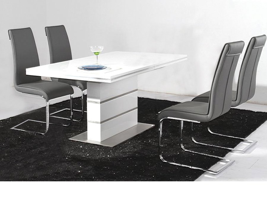 Dolores high gloss dining table set 14939 furniture in for High chair dining table set