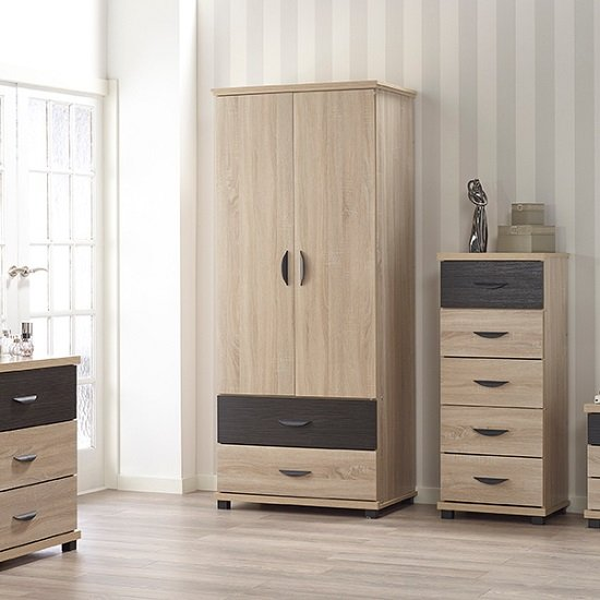 Margate Wardrobe In Sonoma Oak And Black With 2 Doors
