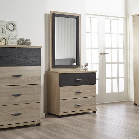 Margate Dressing Table With Mirror In Sonoma Oak And Black