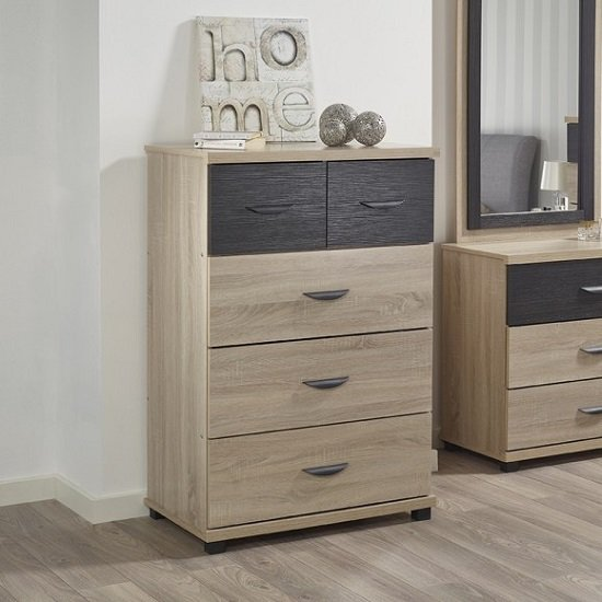 Margate Wide Chest Of Drawers In Sonoma Oak And Black_1