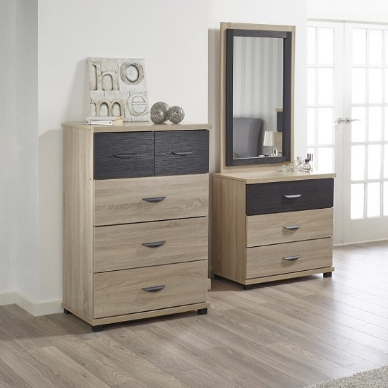 Margate Wide Chest Of Drawers In Sonoma Oak And Black_2