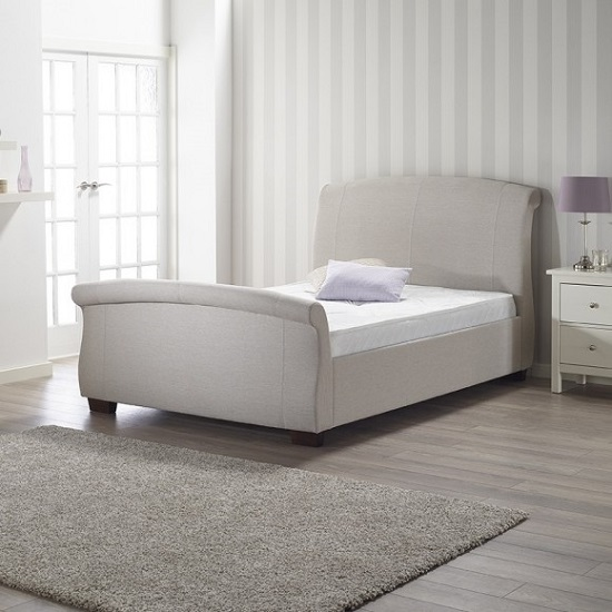 Modern Designer Italian Black And White Faux Leather Bed 837