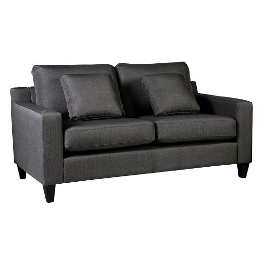 Angelic 2 Seater Sofa In Grey Fabric With Wooden Black Feet