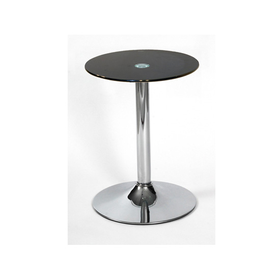 Drew Lamp Table In Black Glass Top With Chrome Base