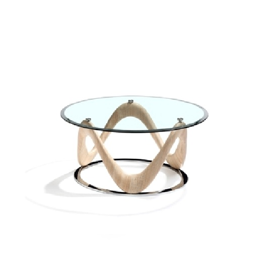 Black Oak Round Coffee Table: Dunic Glass Coffee Table Round In Sonoma Oak And Chrome