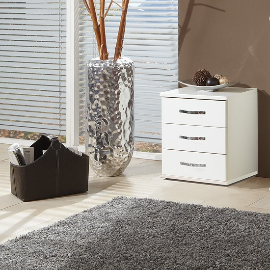 Candice Bedside Cabinet In Alpine White With 3 Drawers