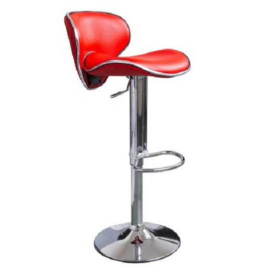 Duo Bar Stool In Red Faux Leather With Chrome Base