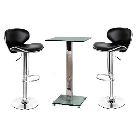 Spice Glass Bar Table In Clear And 2 Duo Bar Stools In Black