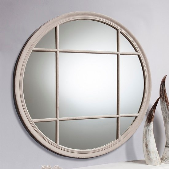 Charleston Wall Mirror Round In Matt Taupe With Panelled Design