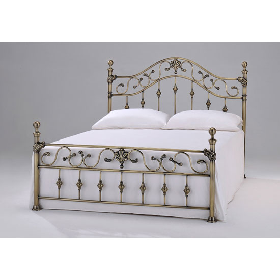 Elizabeth Brass Finish Metal Double Bed With Brass Finials