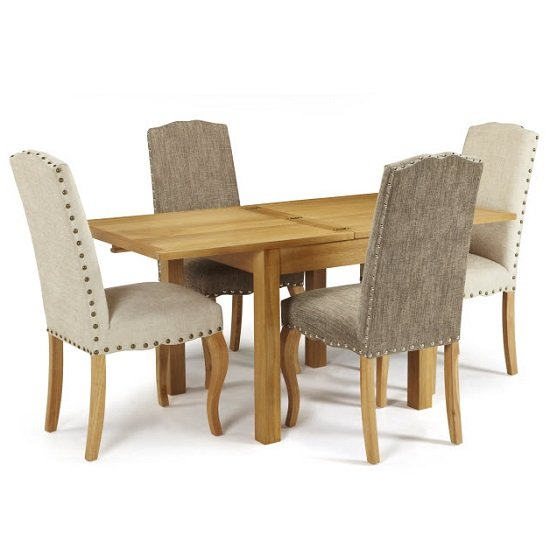 Darcey Extendable Dining Table In Oak With 4 Madeline Chairs