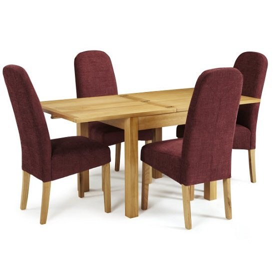 Darcey Extendable Dining Table In Oak With 4 Jennifer Chairs