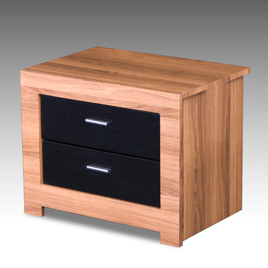 Emma Bedside Cabinet In Walnut With High Gloss Black Drawers