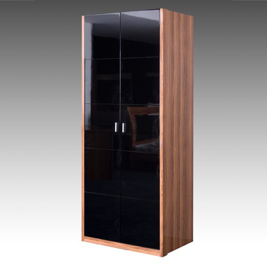 Emma Wardrobe In Walnut With Black High Gloss Doors