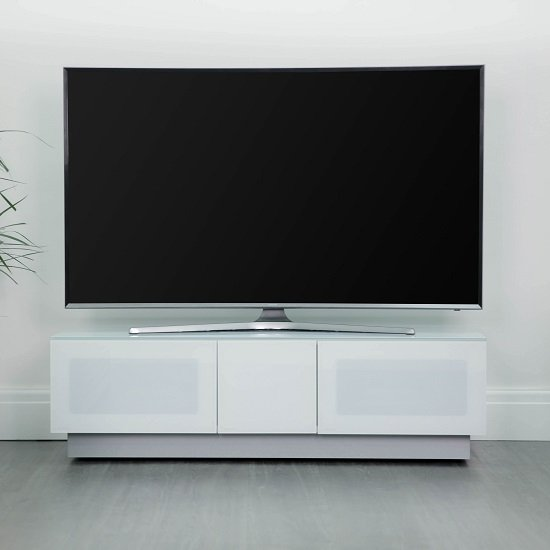 Castle LCD TV Stand Medium In White With Glass Door
