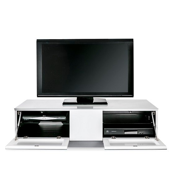 Castle LCD TV Stand Medium In White With Glass Door_6