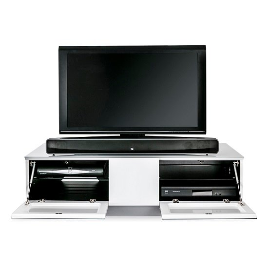 Castle LCD TV Stand Medium In White With Glass Door_7