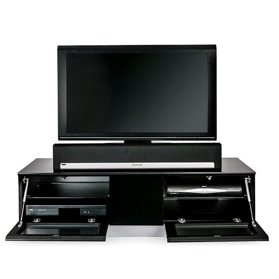 Castle LCD TV Stand Medium In Black With Glass Door_5