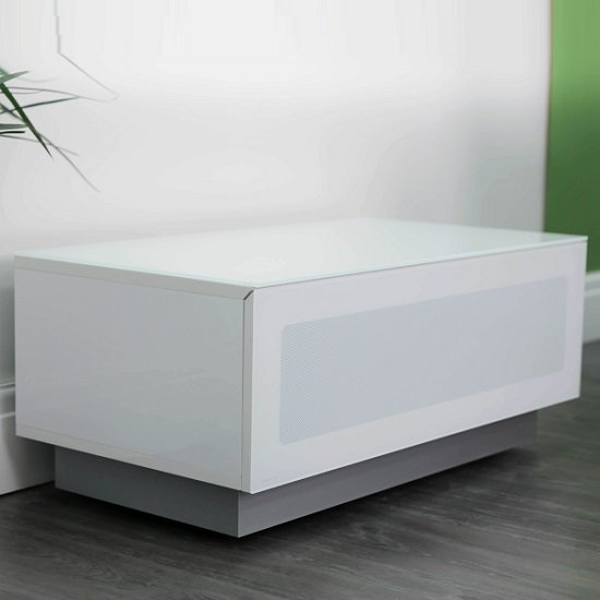 Castle LCD TV Stand Small In White With Glass Door