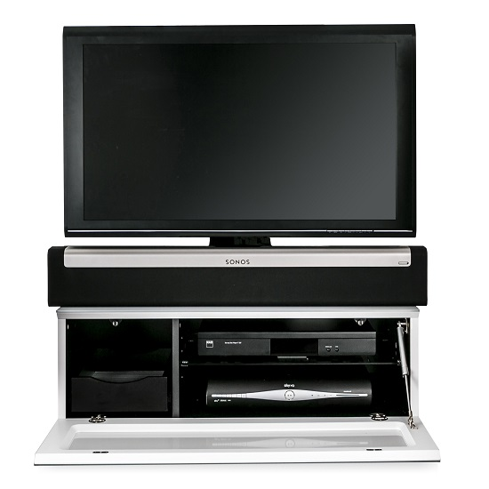 Castle LCD TV Stand Small In White With Glass Door_4