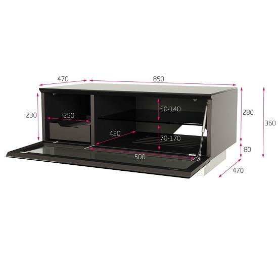 Castle LCD TV Stand Small In White With Glass Door_7