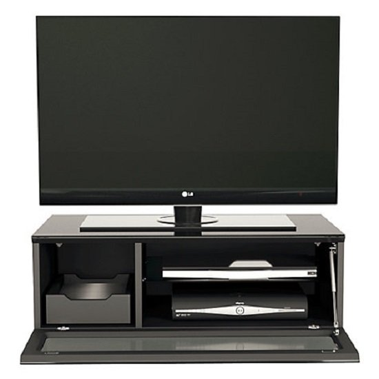 Castle LCD TV Stand Small In Black With Glass Door_6