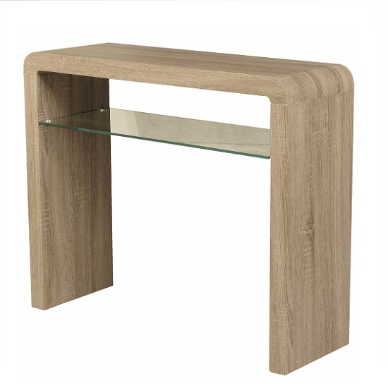 Cannock Console Table Rectangular In Havana Oak With Glass Shelf