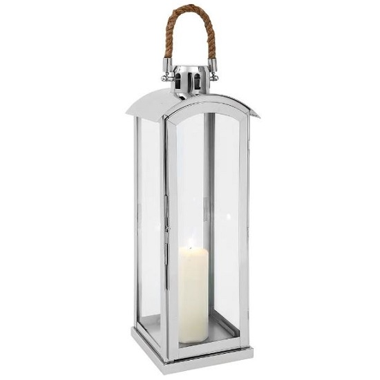 Haylee Medium Lantern In Silver Finish