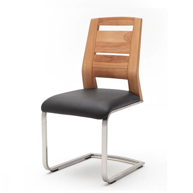 Pisa Dining Chair In Pu Brown Leather And Wild Oak