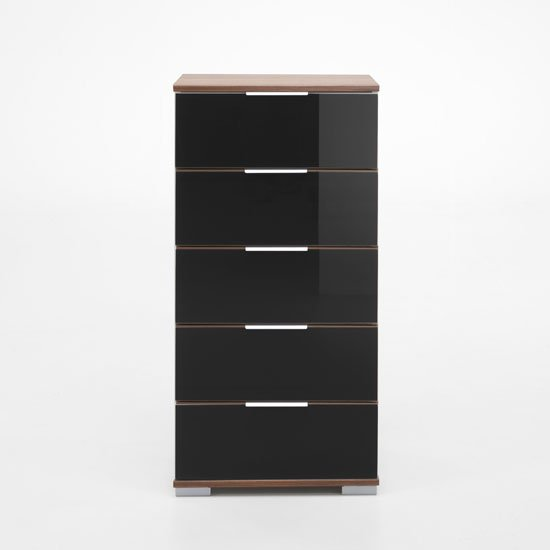 Easy Plus 5 Drawer Chest In Walnut And Black Glass Fronts