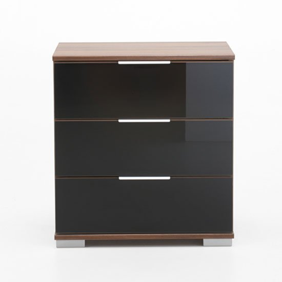 Easy Plus Bedside Cabinet High In Walnut And Black Glass Front