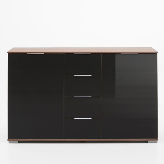 Emission Sideboard In Walnut And Black Glass Fronts With 2 Door