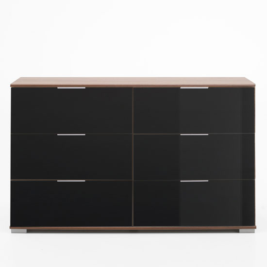 chest of drawers emission 6 drawers chest in walnut and black glass