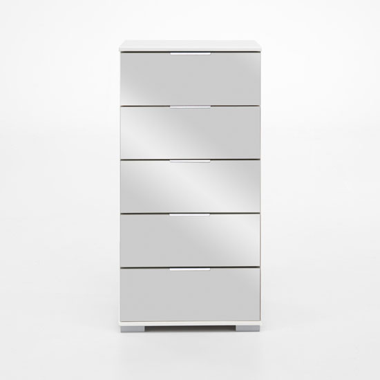 Easy Plus 5 Drawer Chest In White Alpine With Mirror Fronts