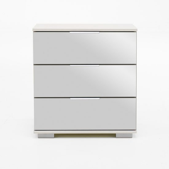 Easy Plus Bedside Cabinet High In White Alpine With Mirror Front