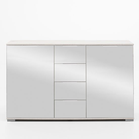 Easy Plus Sideboard In White Alpine With Mirror Fronts