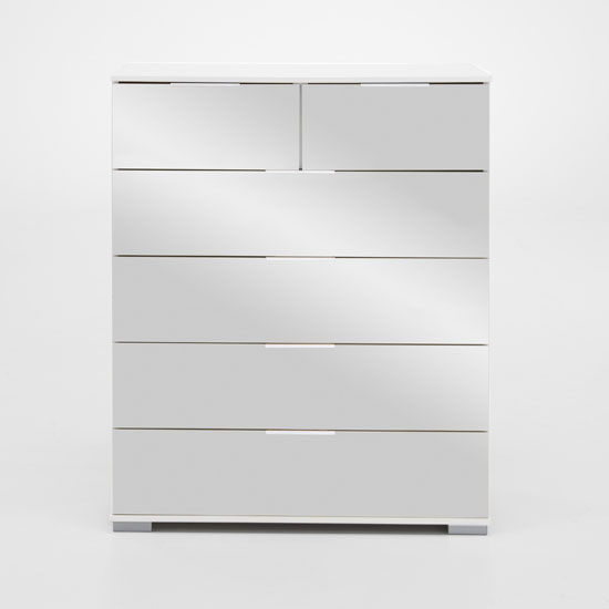 Easy Plus 2+4 Drawer Chest In White Alpine With Mirror Fronts