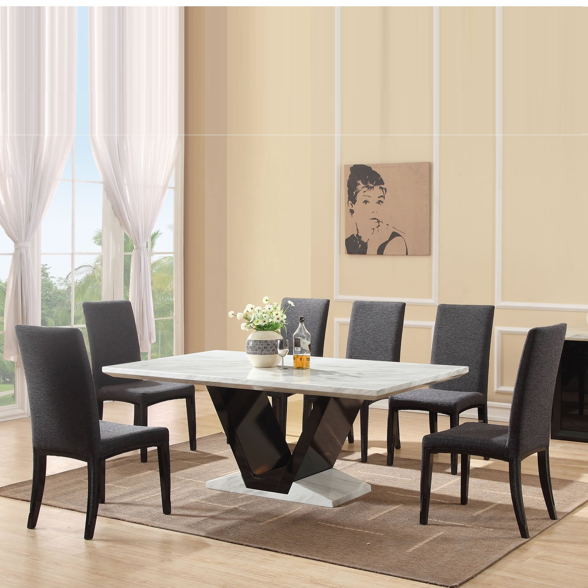 Midas gloss black marble dining table 8 midas chairs for Dining table and 8 chairs