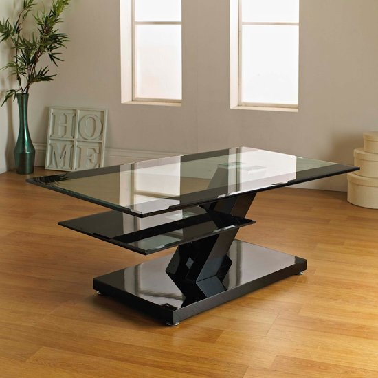 Toscana White High Gloss Coffee Table: Lazy Modern Sideboard In Black High Gloss With LED