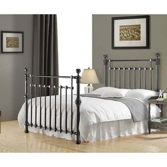 Edward Black Nickel Finish Metal Double Bed