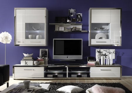 Ego Living Room Set 2 In White With High Gloss Fronts With LED