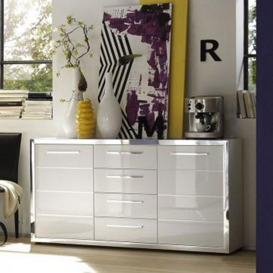 Ego Modern Sideboard In White With High Gloss Fronts And 2 Doors