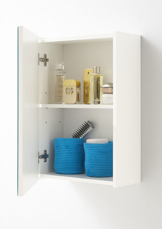 Elena Bathroom Wall Mounted Cabinet In White With Mirrored Door