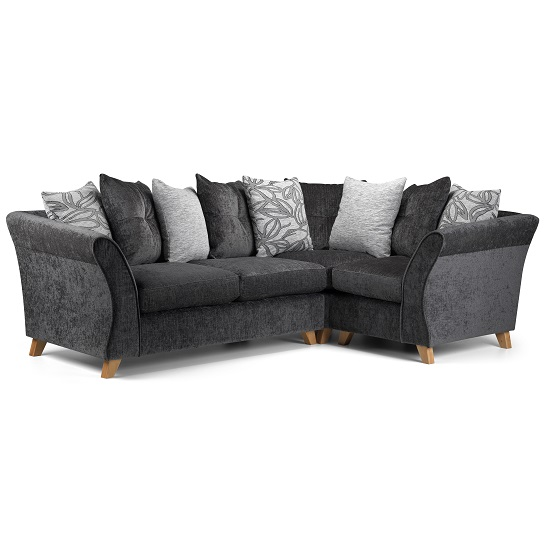 Nelson Corner Sofa In Grey Fabric With Wooden Legs