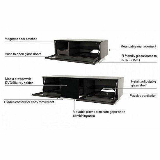 Castle LCD TV Stand Medium In Black With Glass Door_8