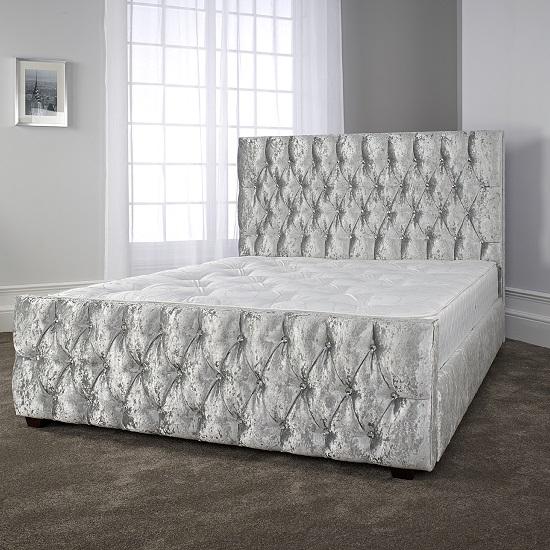 Caroline Ultra Modern Bed In Glitz Ice With Dark Wooden Legs