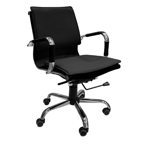 Emerald Home Office Chair In Black Faux Leather And Chrome Frame